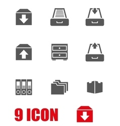 grey archive icon set vector image vector image