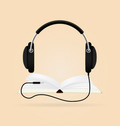 Headphones with books audio-book concept modern vector