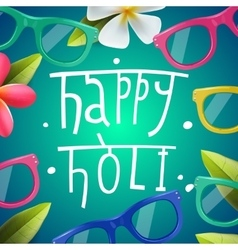 Happy holi poster of indian color festival vector