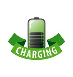 logo battery and green ribbon vector image vector image