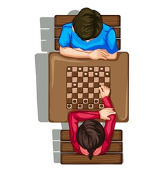 A topview of two people playing a boardgame vector image vector image