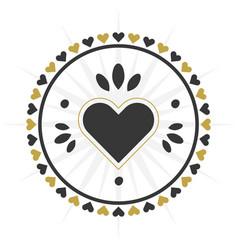 black and golden circle heart border icon vector image