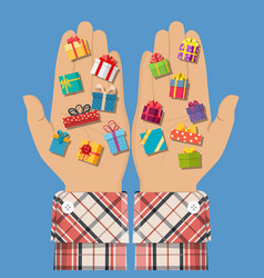 gift boxes in hand vector image vector image