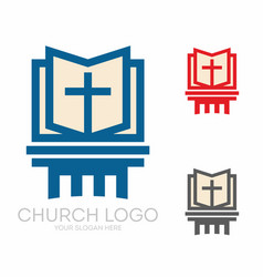 Holy bible and jesus cross vector