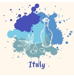 Italian Emotive Motive with Culinary Attractions vector image vector image