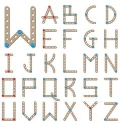 Latin alphabet made of wooden meccano vector