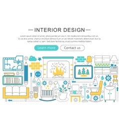 modern line flat Interior design decor vector image vector image