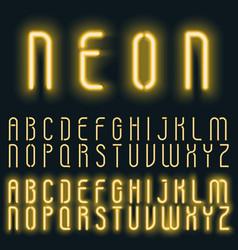 neon golden yellow light alphabet font vector image