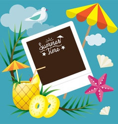 Pineapple fruit and summer objects with frame vector