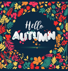 Text autumn in paper style on multicolor vector