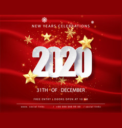 2020 happy new year greeting card with confetti vector