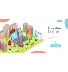 3d isometric flat landing page template of vector image
