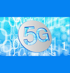 5th generation of mobile networks binary code vector image