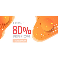 80 percent offer background with abstract shapes vector