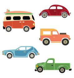 A set cartoon cars collection old cars vector