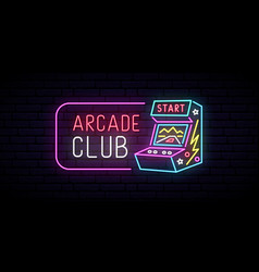 arcade game machine neon sign arcade club emblem vector image