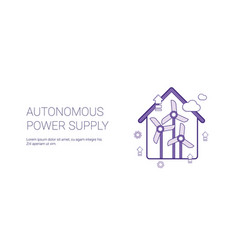 Autonomous power supply template web banner with vector