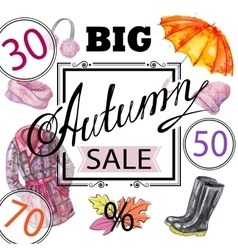 Autumn sale shopping advertising vector image