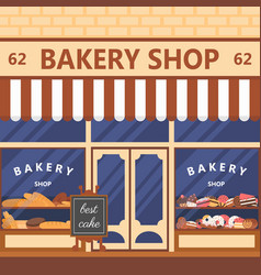 Bakery facade showcase with sweets vector