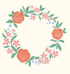 beautiful floral circular frame hand-drawn vector image