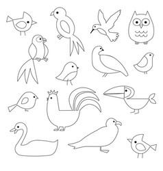 birds digital stamps vector image