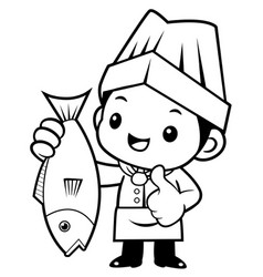 Black and white cook mascot and best fish vector