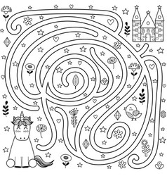 black and white maze game and coloring page vector image