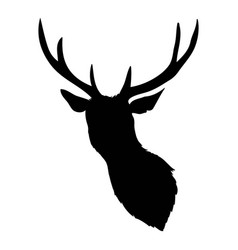 Black silhouette of deers head with antlers vector