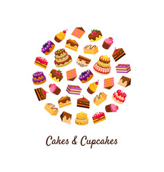 cakes and cupcakes banner template delicious vector image