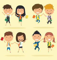 cheerful young boys and girls make a jump vector image
