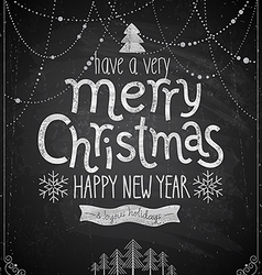 christmas poster - chalkboard style vector image