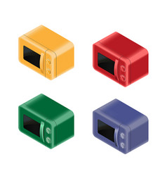 colored microwaves set vector image