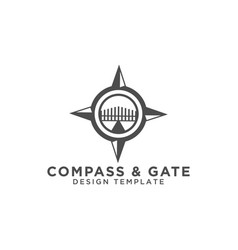 compass and gate logo design template vector image