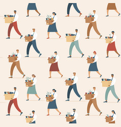 crowd fired sad people seamless pattern vector image