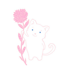 cute fluffy white kitten with blue eyes holds a vector image vector image