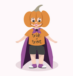 cute kid halloween character wearing pumpkin mask vector image