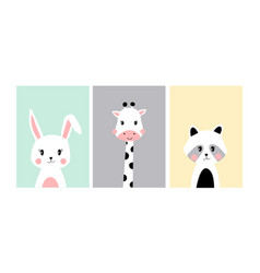 cute posters with little bunny giraffe raccoon vector image