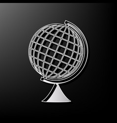 earth globe sign gray 3d printed icon on vector image
