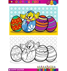 easter chick cartoon for coloring vector image