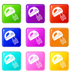 electric mixer set 9 vector image