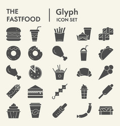 fastfood glyph icon set food symbols collection vector image