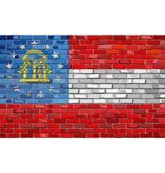 Flag of Georgia on a brick wall vector image