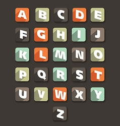 Flat alphabet icons vector image