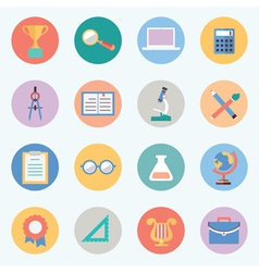 Flat education icons science and knowledge vector