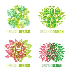 Floral logo set 4 vector