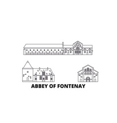 France abbey of fontenay line travel skyline set vector