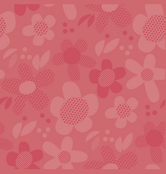 Geometric floral motif in coral shades vector