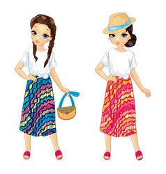 girls in striped bright skirts vector image