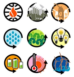 global warming icons vector image