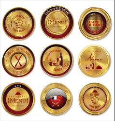Golden restaurant labels vector